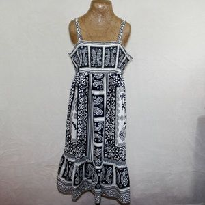 Tommy Hilfiger Black White Paisley Sun Dress